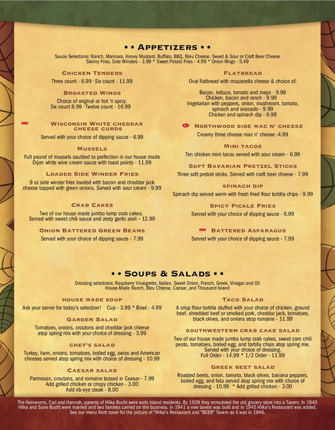 Dinner Menu The Northwood Drummond Island MI