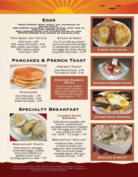 The Northwood Breakfast Menu Winter 2018